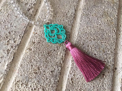 Mint Green Mandala Tassel Connector, Focal point for tassel necklaces, green connector bead, 2 hole laser cut tassel bead long statement necklace