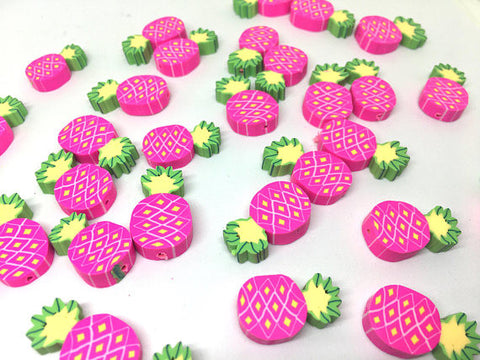 Pineapple Beads, Clay Beads, hot pink beads, bracelet necklace earrings, jewelry making, clay beads, bangle bead, pineapple decor beads