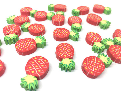 Pineapple Beads, Clay Beads, red beads, bracelet necklace earrings, jewelry making, clay beads, bangle bead, pineapple decor beads red