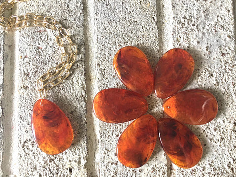 Amber Teardrop Pendants, 57x36mm, acrylic gem pendants, 1 hole pendant, long necklace, wire wrapped pendant, wrapping pendant reddish brown