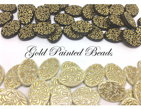 Gold Painted Beads, Cream or Black beads, gold wire bangles, gold bracelets, gold foil, 29mm bangle bead, gold mandala beads, black and gold