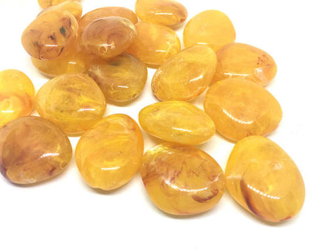 Marigold 31mm acrylic beads, chunky statement necklace, wire bangle, jewelry making, QUEEN Collection, oval beads, large yellow acrylic bead