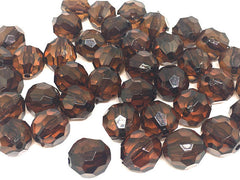 15mm Faceted Deep Brown Round Beads, coffee brown beads, faceted cube beads, brown statement, brown necklace, big acrylic beads