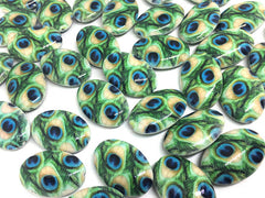 Peacock painted beads, blue and green beads, oval beads, peacock feathers, peacock jewelry, peacock bracelet, peacock necklace, feather bead