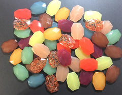 Fall Colors Bead Bag SALE! 34mm Beads, brown yellow orange green maroon acrylic Nugget Jewelry Making Supplies Wire Bangle Bracelet