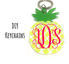Pineapple Acrylic Blanks, 3 Inch keychain blanks, blank acrylics, pineapple keychain, monogram keychain, yellow and green, monogram gift