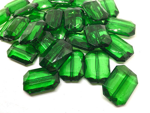 Emerald Green Translucent Beads, Faceted Nugget Bead, 30mm beads, green beads, green bracelet, dark green jewelry, emerald jewerly, GLIMMER