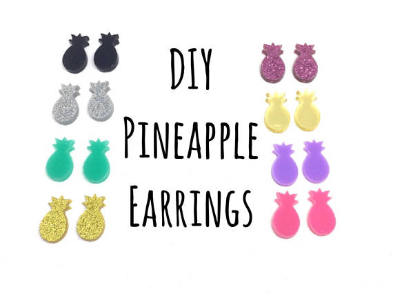 DIY Pineapple Acrylic Earring Blanks, 14mm earring, monogram earrings, acrylic blanks, pineapple jewlery, pineapple earrings, jewelry making