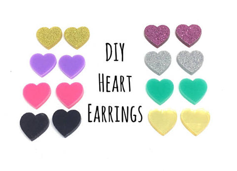 DIY heart Acrylic Earring Blanks, 12mm earring, monogram earrings, acrylic blanks, heart jewlery, heart earrings, jewelry making, pink gold