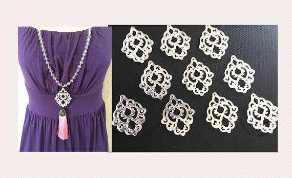 Silver Mirror Mandala Tassel Connector, Focal point for tassel necklaces, silver connector bead, 2 hole laser cut tassel bead long statement necklace