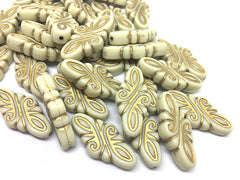 Gold & Cream Beads, 31mm Beads, big acrylic beads, bracelet necklace earrings, jewelry making, acrylic bangle beads, gold beads, cream beads