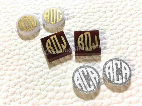 Monogram Acrylic DIY Earring, 14mm earring circles, monogram jewelry, monogram earrings, acrylic blanks, circular earrings,gold monogram