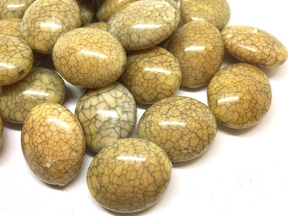 Champagne Oval Dinosaur Egg Beads, 24mm Beads, big acrylic beads, bracelet, necklace, acrylic bangle beads, champagne jewelry, crackle