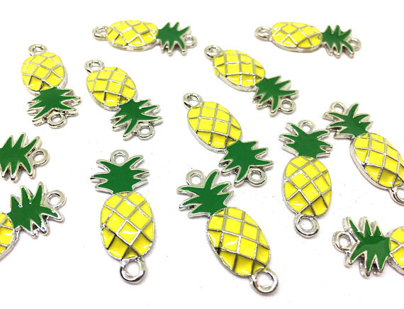 Silver Pineapple Connector Pendants, pineapple charms, silver connectors, pineapple bracelets, pineapple jewelry, silver wire bracelets