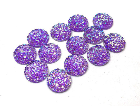 12mm Druzy Cabochons, PURPLE SPARKLE, jewelry making kit, earring set, diy jewelry, druzy studs, 12mm Druzy, cabochon, stud earrings PURPLE