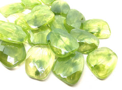 Green & Clear Large Translucent Beads, Faceted Nugget Bead, crystal bead, 30mm bead, clear beads, translucent beads, bangle beads green bead