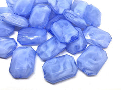 Periwinkle creamy rectangle 32mm big acrylic beads, blue chunky craft supplies, purple bangle, jewelry making, periwinkle statement necklace