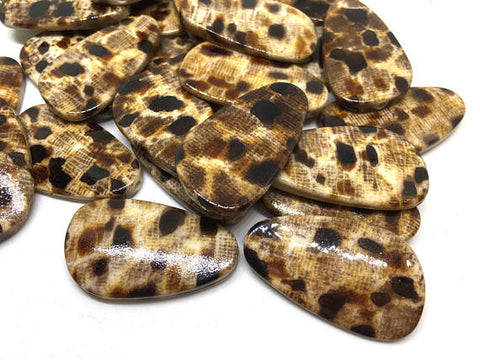 Animal Print Beads, 36mm Animal Print beads, geometric brown beads, cheetah print, spotted beads, animal print jewelry, animal gift, brown