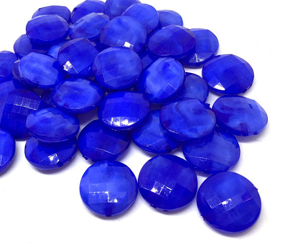 Royal Blue Beads, round 20mm Beads, big acrylic beads, bracelet necklace earrings, dark blue beads, acrylic bangle beads, circular circle
