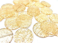 Champagne Dinosaur Egg Clear Faceted 32mm acrylic beads, circular chunky craft supplies for wire bangle or jewelry making tan brown
