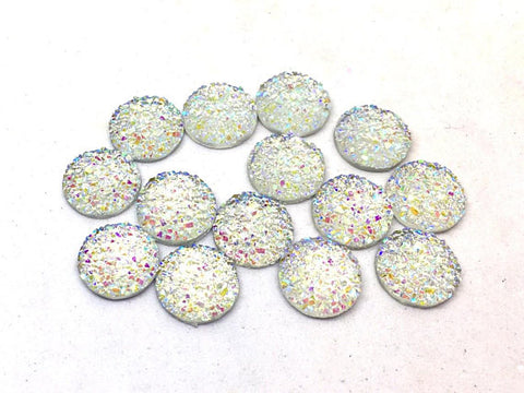 12mm Druzy Cabochons, SNOWGLOBE, jewelry making kit, earring set, diy jewelry, druzy studs, 12mm Druzy, cabochon, stud earrings, white