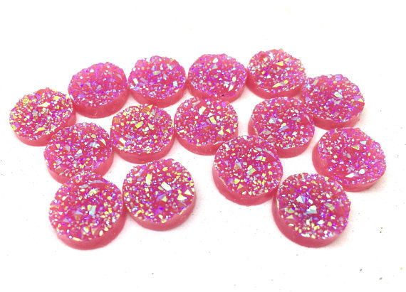 12mm Druzy Cabochons, MAGENTA SPARKLE, jewelry making kit, earring set, diy jewelry, druzy studs, 12mm Druzy, cabochon, stud earrings, PINK