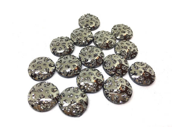 12mm Druzy Cabochons, GRAY polka dots, jewelry making kit, earring set, diy jewelry, druzy studs, 12mm Druzy, cabochon, stud earrings, gray
