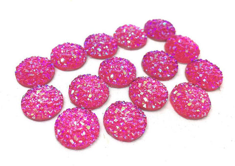 12mm Druzy Cabochons, HOT pink SPARKLE, jewelry making kit, earring set, diy jewelry, druzy studs, 12mm Druzy, cabochon, stud earrings PINK