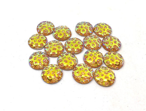12mm Druzy Cabochons, YELLOW polka dots, jewelry making kit, earring set, diy jewelry, druzy studs, 12mm Druzy cabochon, yellow stud earring
