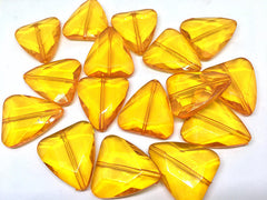 Orange Large Triangle Translucent Beads, Faceted Nugget Bead, crystal bead, 35mm bead, translucent beads, bangle beads, orange beads