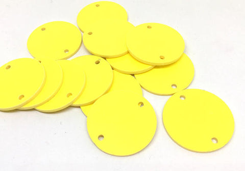 "Yellow Discs, 2 Hole Acrylic Disc - BLANK 30mm 1.25"" Across 2 Holes Bangle Making, Necklace Keychain, Jewelry Making, acrylic blanks yellow"