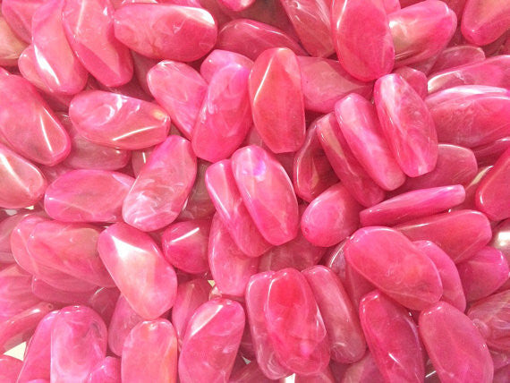 Large PINK Gem stone Beads - Acrylic Beads look like stained glass for Jewelry Making-Necklaces, Bracelets, or Earrings! 45x25mm Stone