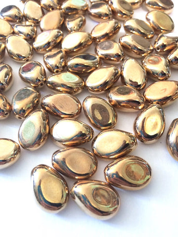 Metallic Gold Nugget Acrylic Bead, 26mm bead, Bangle Necklace Earring Jewelry Making Beads, wire bangle, gold beads, gold jewelry, gold bead