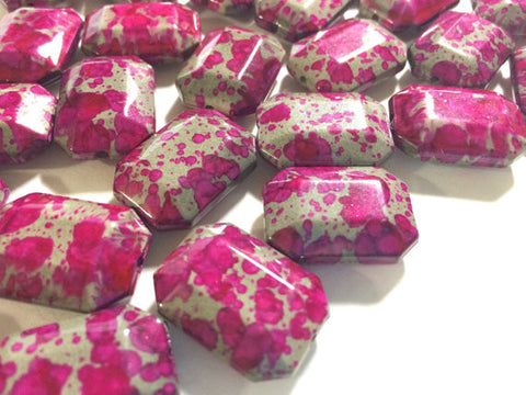 Freckled PINK Beads - Octogon 24x16mm Large faceted acrylic nugget beads for bangle or jewelry making - Swoon & Shimmer - 1