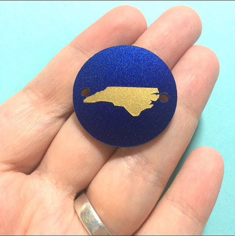 Gold North Carolina on Dark Blue 2 hole disc - jewelry making, bangle bracelet, gift, handmade beads - 1.25 inch size - Swoon & Shimmer - 1