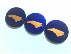 Gold North Carolina on Dark Blue 2 hole disc - jewelry making, bangle bracelet, gift, handmade beads - 1.25 inch size - Swoon & Shimmer - 3