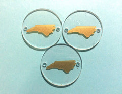 Gold North Carolina on Clear 2 hole disc - jewelry making, bangle bracelet, gift, handmade beads - 1.25 inch size - Swoon & Shimmer - 1