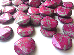Freckled PINK Beads - Circular 26x26mm Large faceted acrylic nugget beads for bangle or jewelry making - Swoon & Shimmer - 1