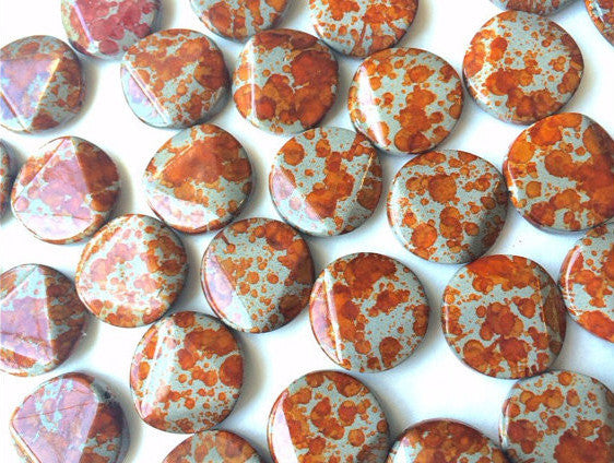 Freckled ORANGE Beads - Circular 26x26mm Large faceted acrylic nugget beads for bangle or jewelry making - Swoon & Shimmer - 1