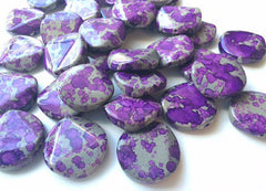 Freckled PURPLE Beads - Circular 26x26mm Large faceted acrylic nugget beads for bangle or jewelry making - Swoon & Shimmer - 1