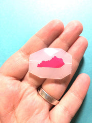 Kentucky in Pink on Large White Translucent Beads - Faceted Nugget Bead - FLAT RATE SHIPPING 34x24mm - Swoon & Shimmer - 2