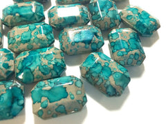 Freckled TURQUOISE BLUE Beads - Octogon 24x16mm Large faceted acrylic nugget beads for bangle or jewelry making - Swoon & Shimmer - 3