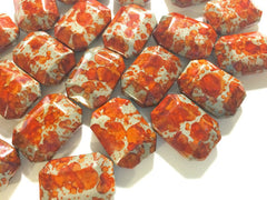 Freckled ORANGE Beads - Octogon 24x16mm Large faceted acrylic nugget beads for bangle or jewelry making - Swoon & Shimmer - 1