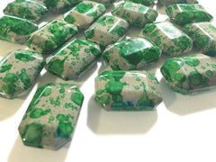 Freckled Green Beads - Octogon 24x16mm Large faceted acrylic nugget beads for bangle or jewelry making - Swoon & Shimmer - 2