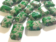 Freckled Green Beads - Octogon 24x16mm Large faceted acrylic nugget beads for bangle or jewelry making - Swoon & Shimmer - 4