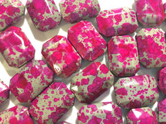 Freckled PINK Beads - Octogon 24x16mm Large faceted acrylic nugget beads for bangle or jewelry making - Swoon & Shimmer - 2