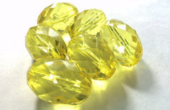 30x20mm Radiant Collection in YELLOW - Faceted Oval Acrylic Beads for Bangles or Jewelry Making - Craft Supplies Necklace Chunky Bead