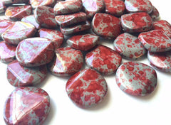 Freckled RED Beads - Circular 26x26mm Large faceted acrylic nugget beads for bangle or jewelry making
