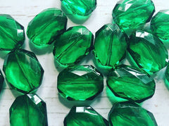 31x24mm FOREST GREEN Faceted Slab Nugget Beads, Beads for Bangle Making or Jewelry Making, transparent beads, chunky beads, statement beads