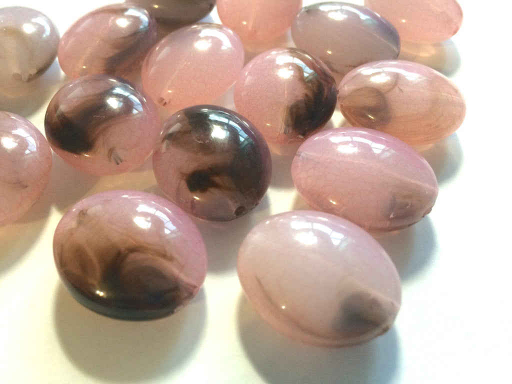 Pink Brown Ombre beads, blush pink 25mm egg / nugget Bead, acrylic beads, glass beass, bangle beads, pink jewelry, pink bracelet, pink